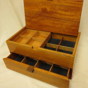 Large Double Decker Mahogany Jewelry Boxes